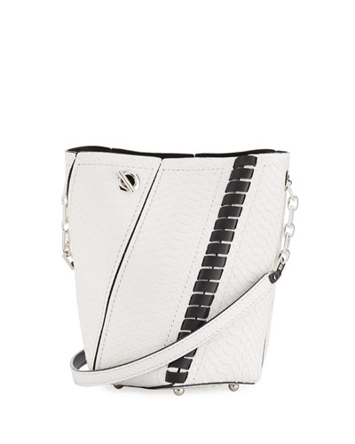 Hex Mini Whipstitch Python Bucket Bag