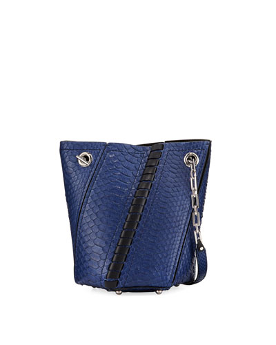 Hex Mini Python Whipstitch Bucket Bag