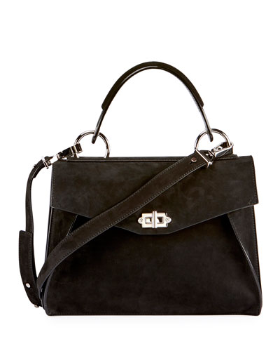 Hava Medium Nubuck Top-Handle Satchel Bag, Black