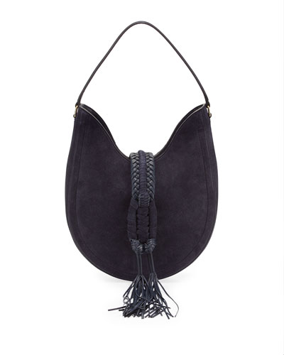 Ghianda Small Suede Hobo Bag, Blue