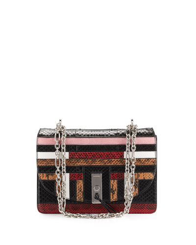 Patchwork Snakeskin Chain Shoulder Bag, Multi