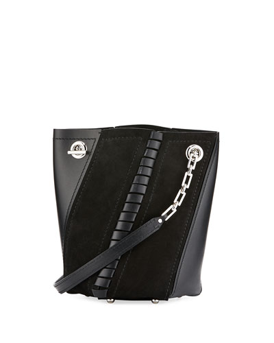 Proenza Schouler Leathers HEX MINI LEATHER BUCKET BAG, BLACK