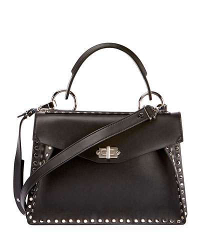 Hava Medium Top-Handle Satchel Bag, Black