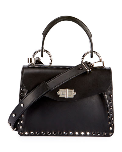 Small Hava Studded Top-Handle Bag, Black