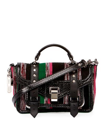 PS1 Medium Mixed-Media Satchel Bag, Black