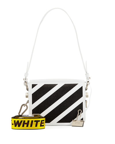 Diagonal Striped Leather Shoulder Bag