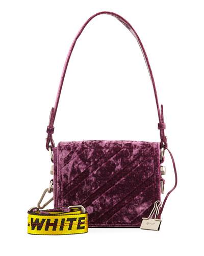Diagonal Velvet Shoulder Bag, Pink