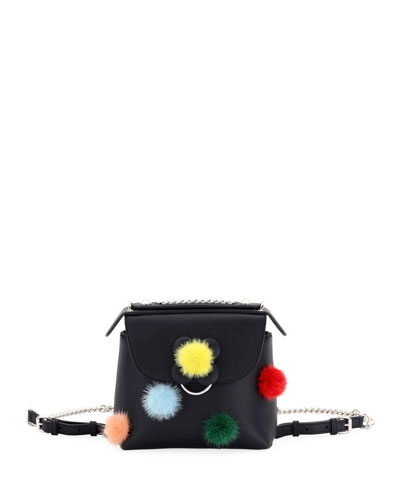 Back to School Mini Mink Pompom Backpack/Crossbody Bag