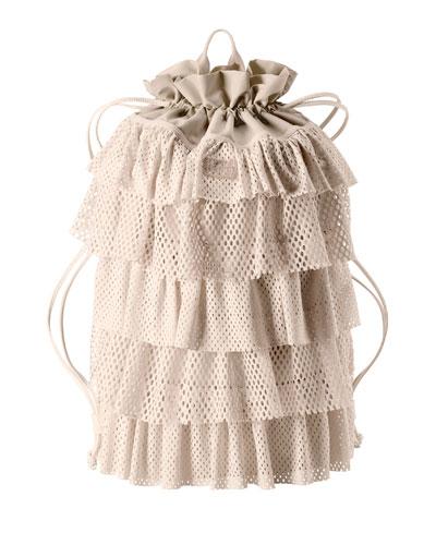 Layered Drawstring Backpack, Pink