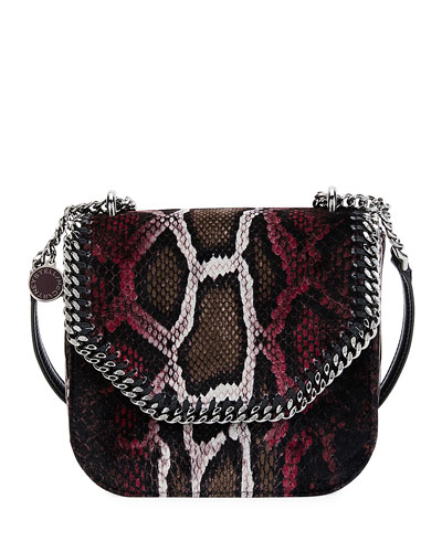 Falabella Mini Python-Print Velvet Shoulder Bag, Brown