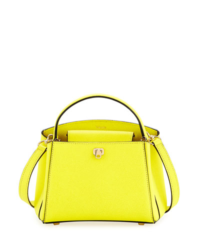 Triennale Micro Leather Top-Handle Bag, Lime