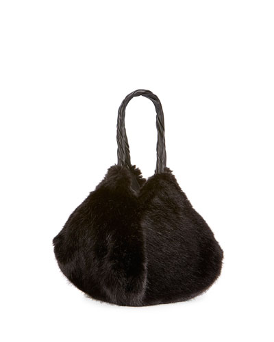Pyramidal Faux-Fur Shoulder Bag, Black