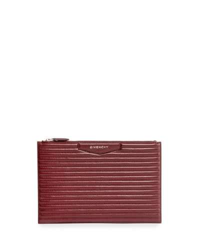 Antigona Biker-Stitched Medium Pouch Bag, Red