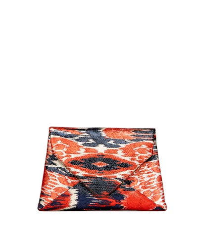 Ikat-Print Lamé Clutch Bag