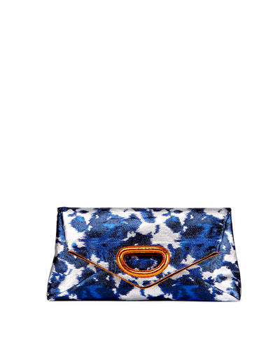 Ikat-Print Lamé Clutch Bag, Blue
