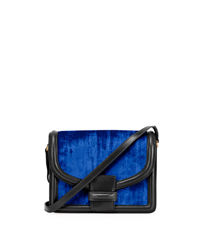 Large Velvet Shoulder Bag, Blue