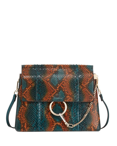 Faye Medium Python Shoulder Bag