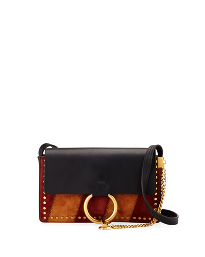 Faye Small Patchwork Shoulder Bag, Black