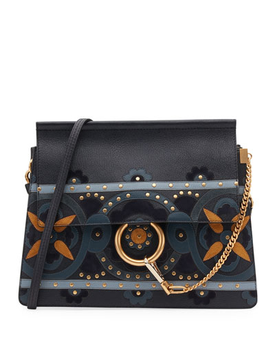 Faye Studded Floral Shoulder Bag, Blue
