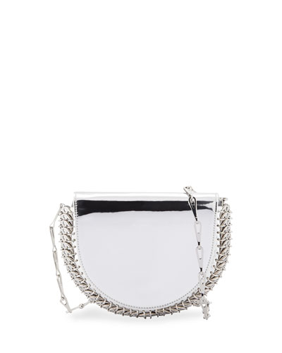 1402 Metallic Half Moon Mini Chain Bag, Silver