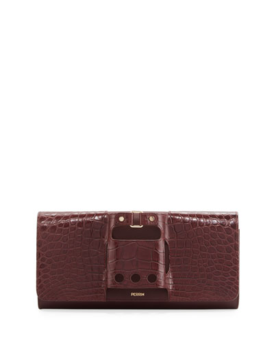 Le Cabriolet Alligator & Calfskin Clutch