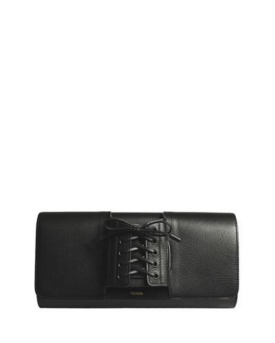 Le Corset Lace-Up Leather Clutch Bag