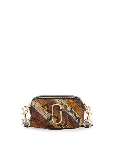 Chain Snapshot Snake-Print Crossbody Bag