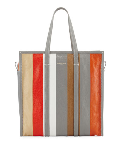 Bazar Shopper Medium Striped Leather Tote Bag