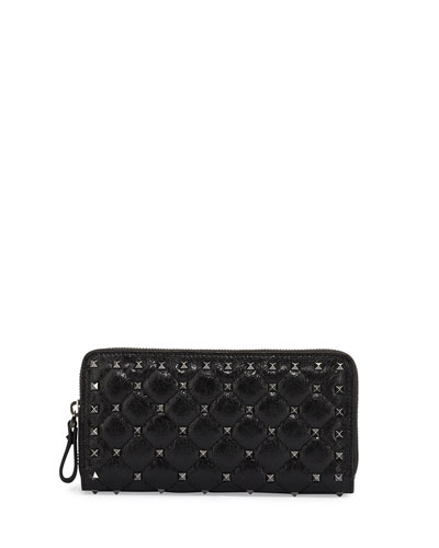 Rockstud Spike Quilted Zip Wallet, Black