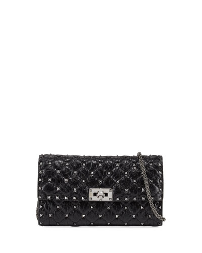 Rockstud Spike Quilted Leather Chain Shoulder Bag, Black