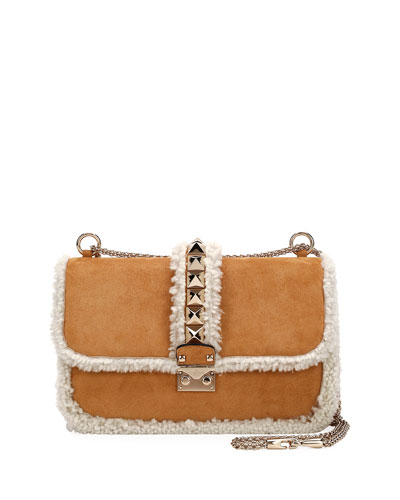 Lock Medium Shearling-Trimmed Shoulder Bag