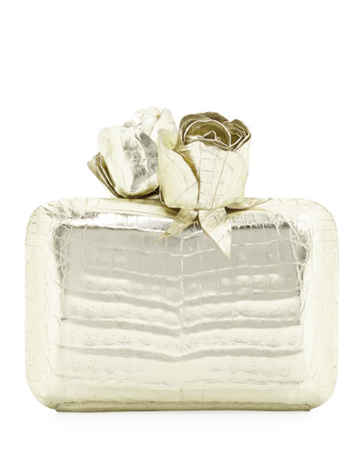 Crocodile Rose Box Clutch Bag, Gold
