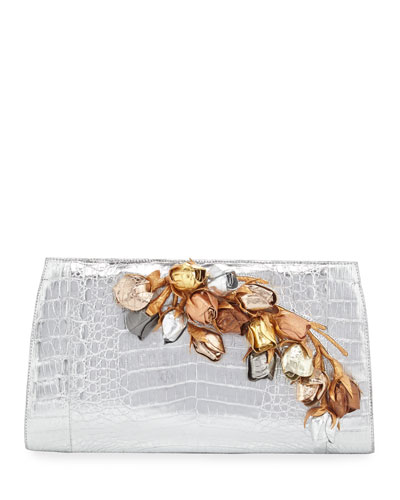 Rosebud Slicer Metallic Crocodile Clutch Bag