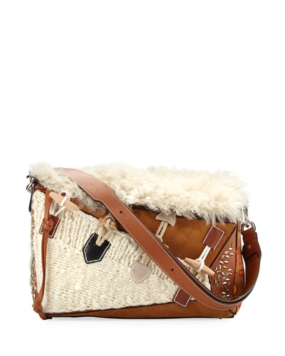 Puzzle XL Studded Shoulder Bag, Beige