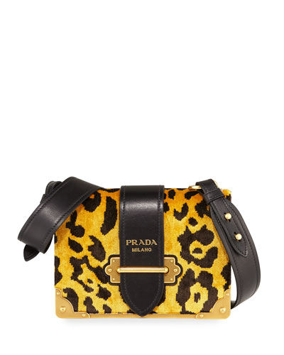 Cahier Small Velvet Shoulder Bag, Leopard