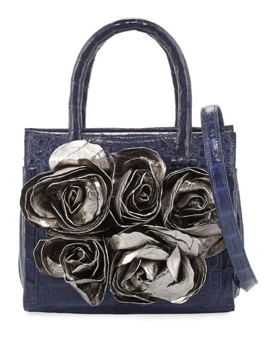 Rosebud Frame Crocodile Tote Bag