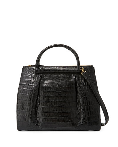 Large Crocodile Plisse Tote Bag