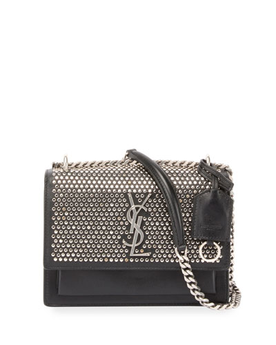 Monogram Sunset Small Studded Chain Shoulder Bag, Black