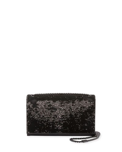 Monogram Kate Medium Paillette-Embroidered Shoulder Bag, Black