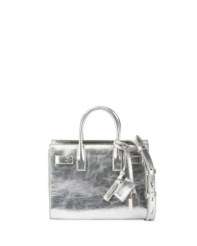 Sac de Jour Nano Metallic Leather Satchel Bag, Silver