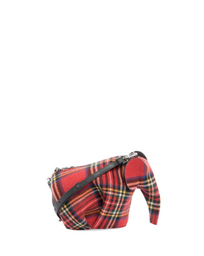 Plaid Elephant Mini Bag, Red