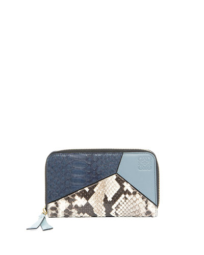 Puzzle Leather & Snakeskin Wallet, Blue