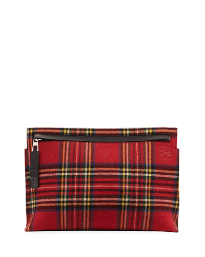 T Tartan Wool Pouch Bag, Black