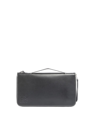 Oversized Zip-Around Leather Wallet, Black
