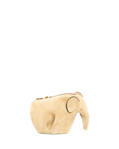 Suede Elephant Coin Purse, Hazelnut