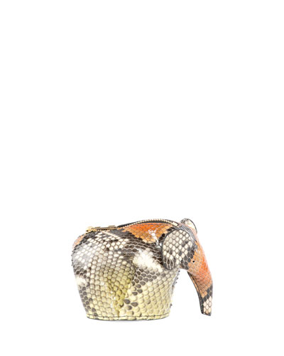 Snakeskin Elephant Coin Purse, Yellow