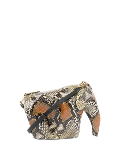 Snakeskin Elephant Mini Bag, Yellow