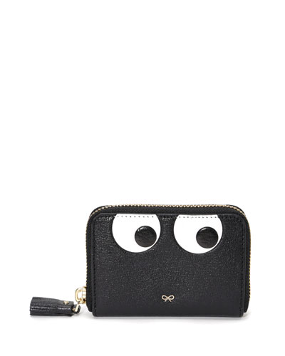 Small Zip-Around Eyes Wallet, Black
