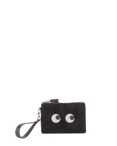 Small Wristlet Glitter Eyes Bag, Black