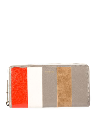 Bazar Contza Striped Leather Wallet, Beige